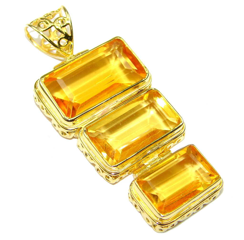 Image of Fabulous! Citrine Quartz , 18K Gold Plated Sterling Silver Pendant