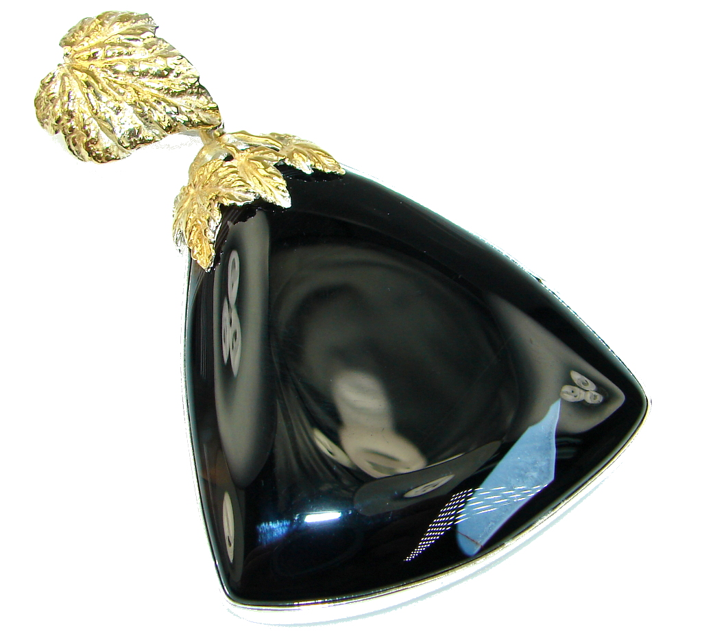 Giant AAA Black Onyx Two Tones Sterling Silver Pendant
