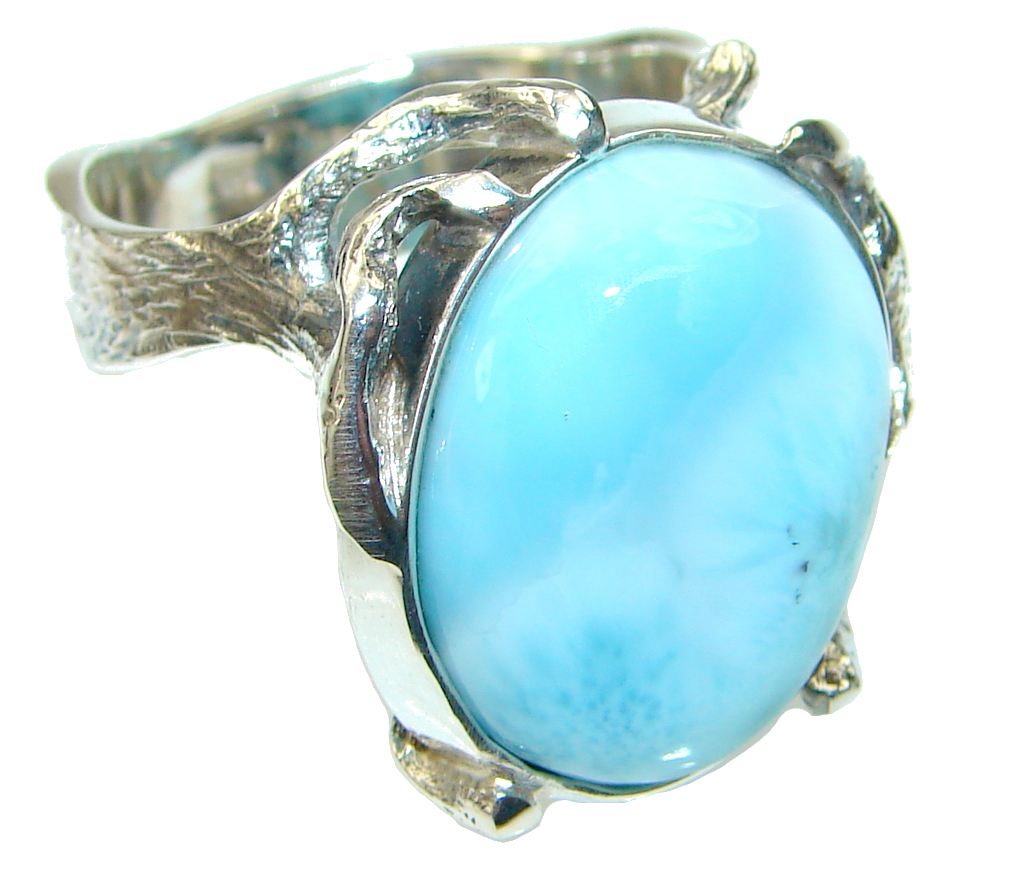 Natural AAA Blue Larimar Sterling Silver Ring s. 8 3/4