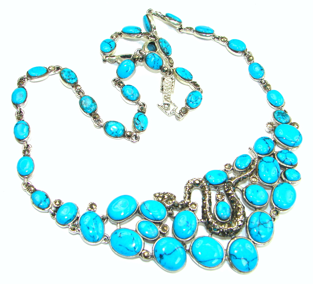 Outstanding Stabilized Turquoise Spinel Sterling Silver necklace