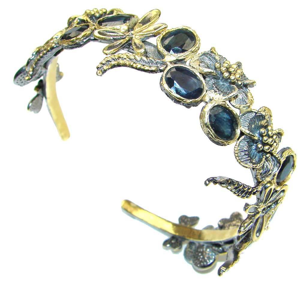 Beautiful! Deep Blue Sapphire Two Tones Sterling Silver Bracelet