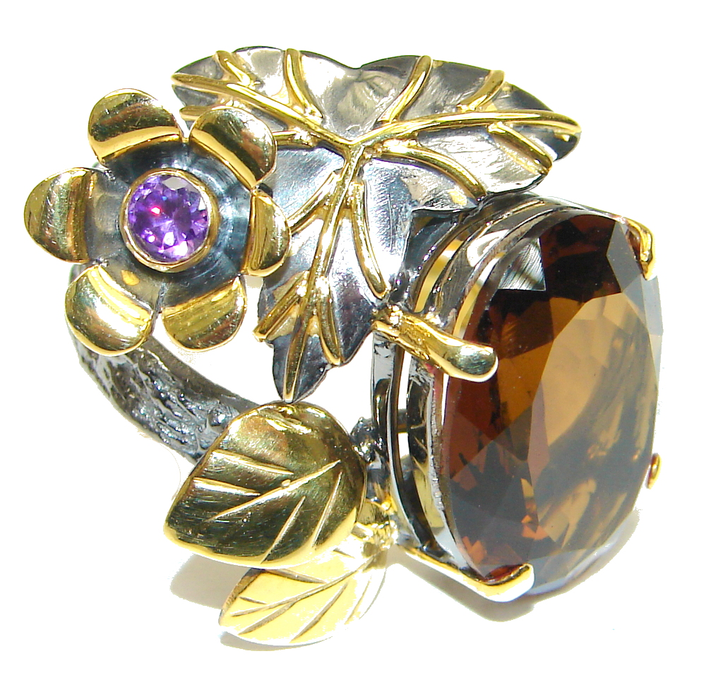 AAA Smoky Topaz, Gold Plated Rhodium Plated Sterling Silver ring s. 8