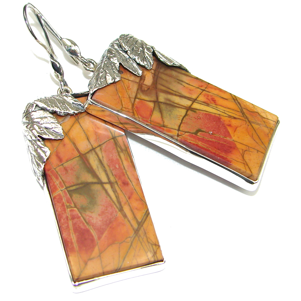 AAA Excellent Red Creek Jasper Sterling Silver Earrings