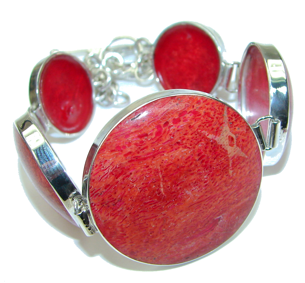 Precious Red Fossilized Coral Sterling Silver Bracelet