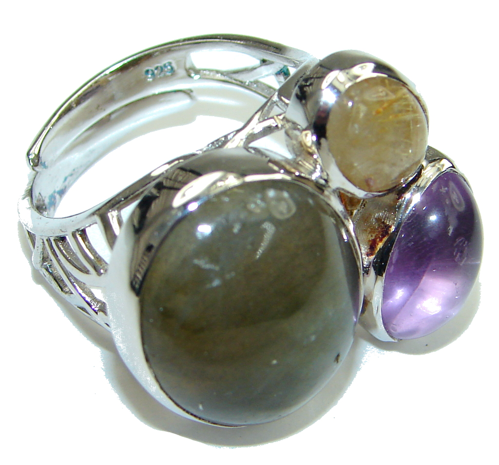AAA Labradorite, Amethyst, Gold Rutilated Quartz Sterling Silver Ring s. 8