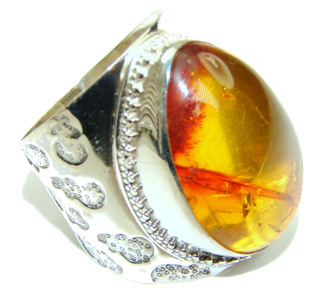 Huge Natural AAA Baltic Polish Amber Sterling Silver Ring s. 11