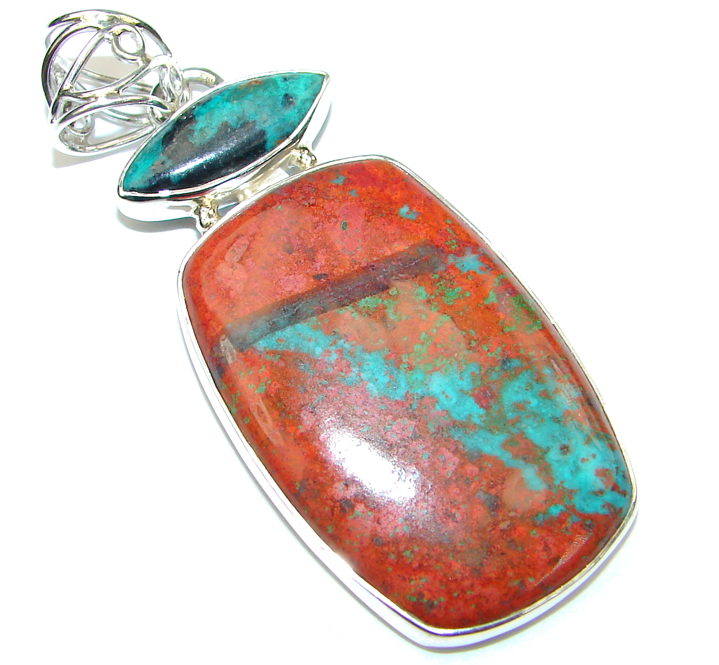 Simple Style Red Sonora Jasper Sterling Silver Pendant