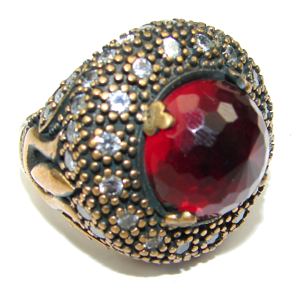 Exclusive! Victorian Style Red Ruby Quartz Sterling Silver Ring s. 7 3/4
