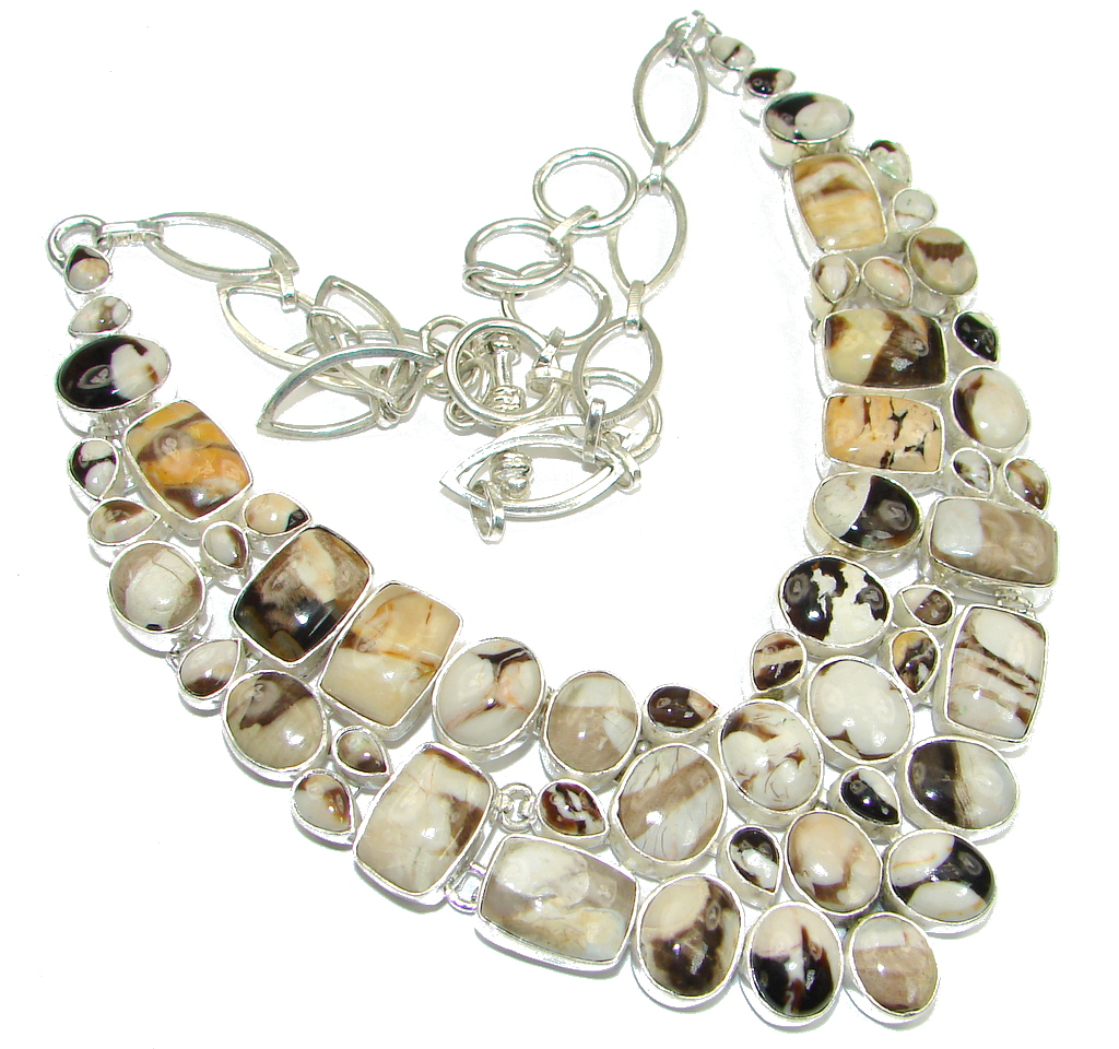 Beautiful Design! Nugget Jasper Sterling Silver necklace