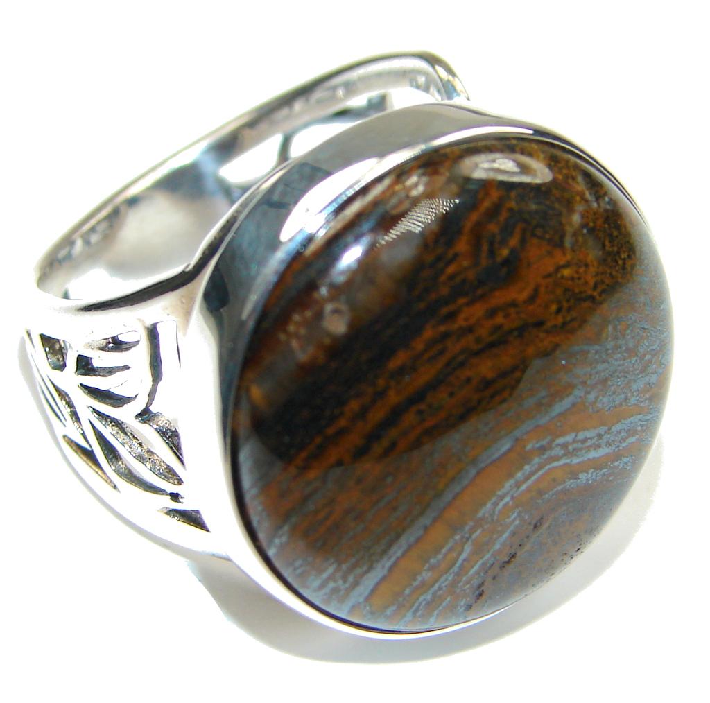 Image of Secret Vision! Golden Tigers Eye Sterling Silver Ring s. 8 1/4 adjustable