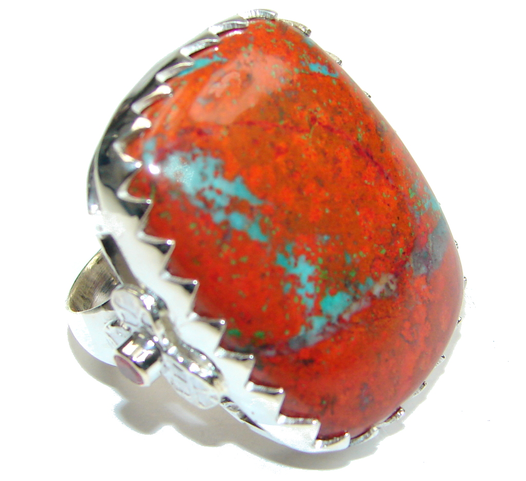 Awesome! Red Sonora Jasper Sterling Silver ring s. 8 1/4