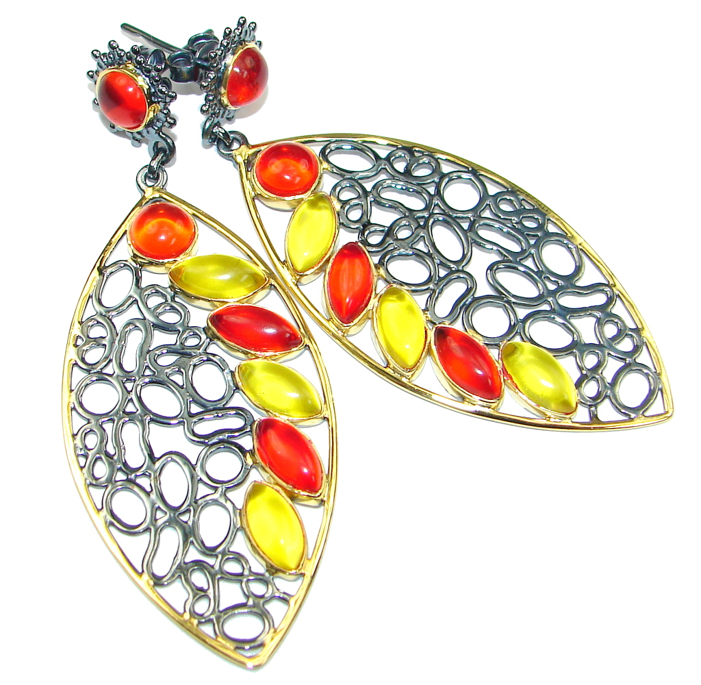 Long! Multicolor Quartz Gold Black Rhodium plated Sterling Silver Earrings
