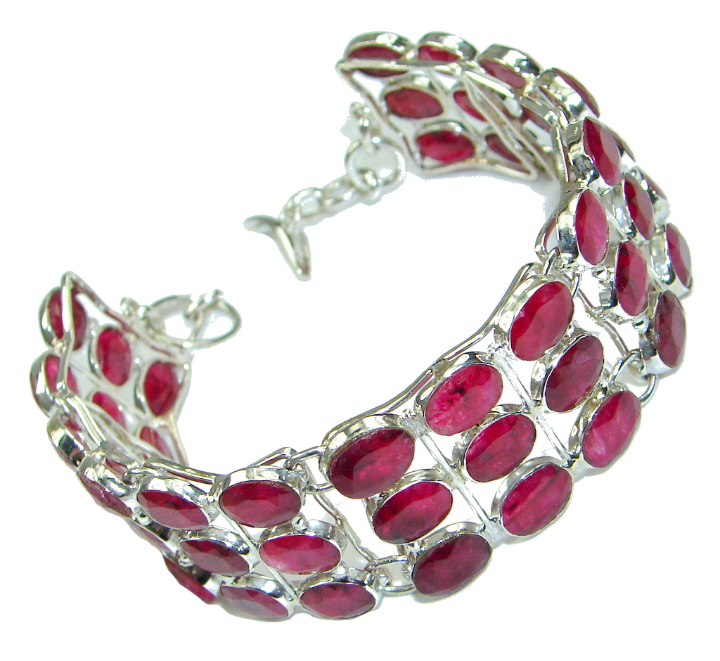 Natural Beauty! Pink Ruby Sterling Silver Bracelet