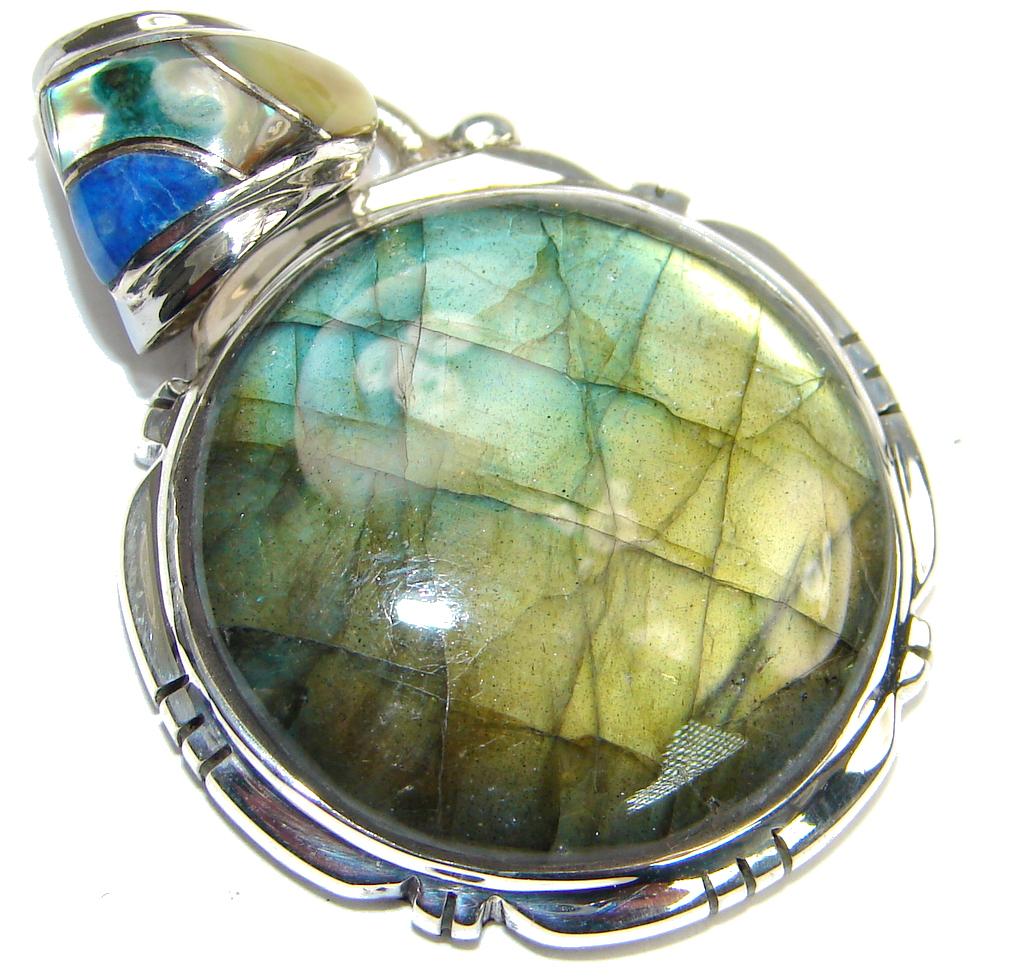 Amazing! Blue Labradorite Sterling Silver Pendant