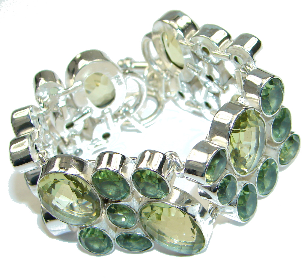 Passion Green Lemon Citrine Quartz Sterling Silver Bracelet