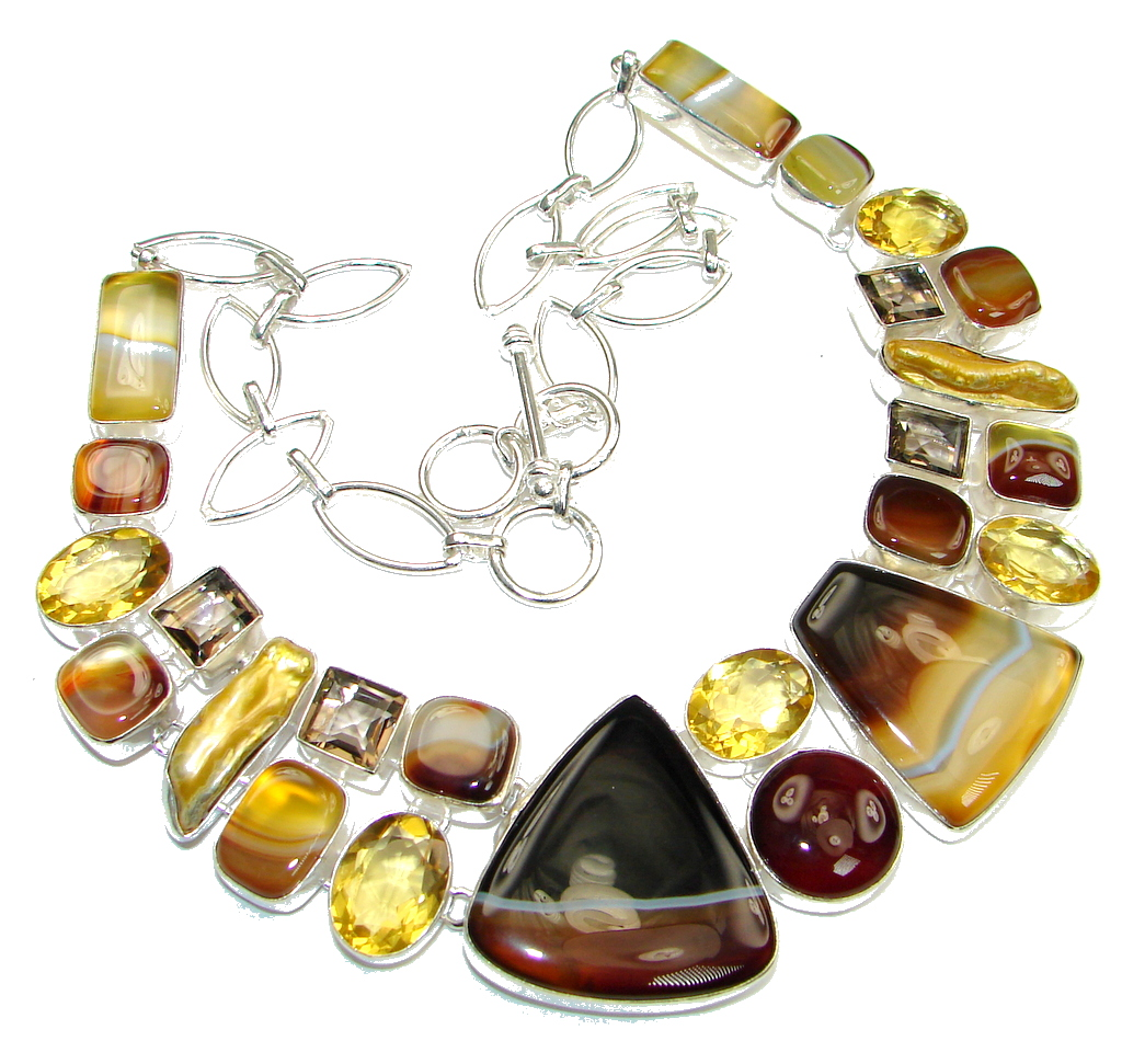 Aura Of Beauty! Botswana Agate & Mother Of Pearl & Citrine Quartz & Smoky Topaz Sterling Silver necklace