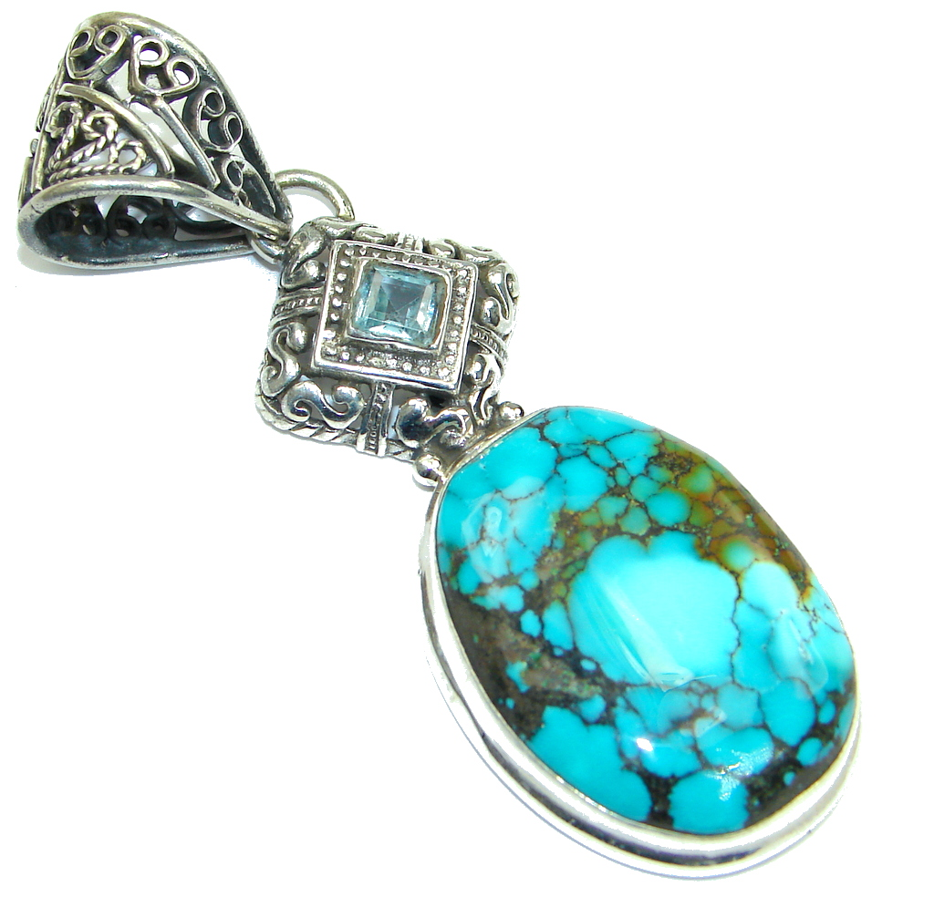 Simple! Spider Web Blue Turquoise Sterling Silver Pendant