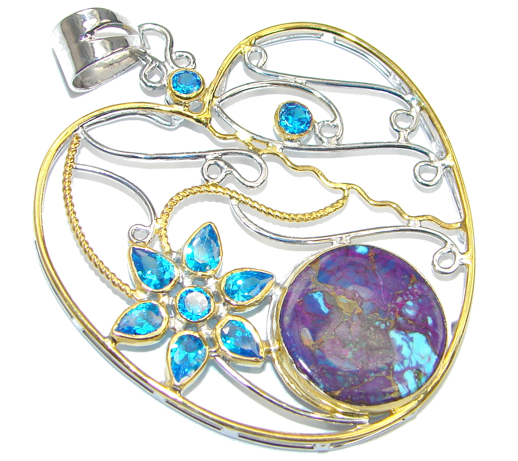 Big! Secret Apple! Purple Copper Turquoise, Gold Plated Sterling Silver Pendant