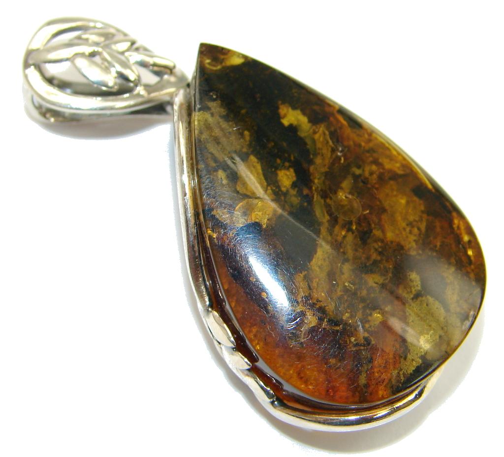 Fantastic Design! Baltic Polish Amber Sterling Silver Pendant