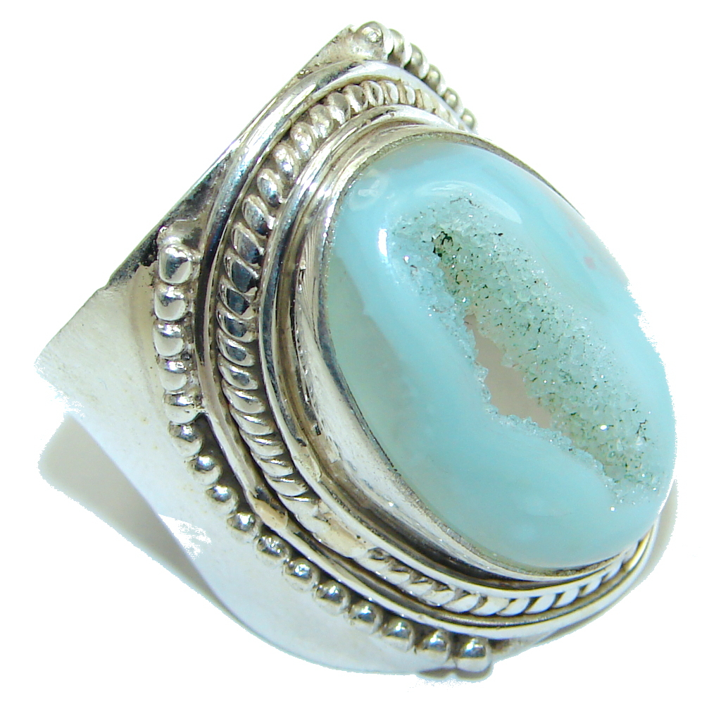 Image of Big! Classy Light Blue Agate Druzy Sterling Silver Ring s. 10 1/4