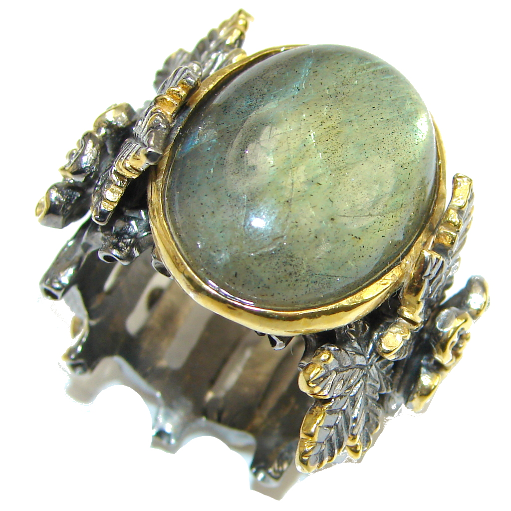 Incredible Style! AAA Labradorite, Gold Plated, Rhodium Plated Sterling Silver Ring s. 8 1/4