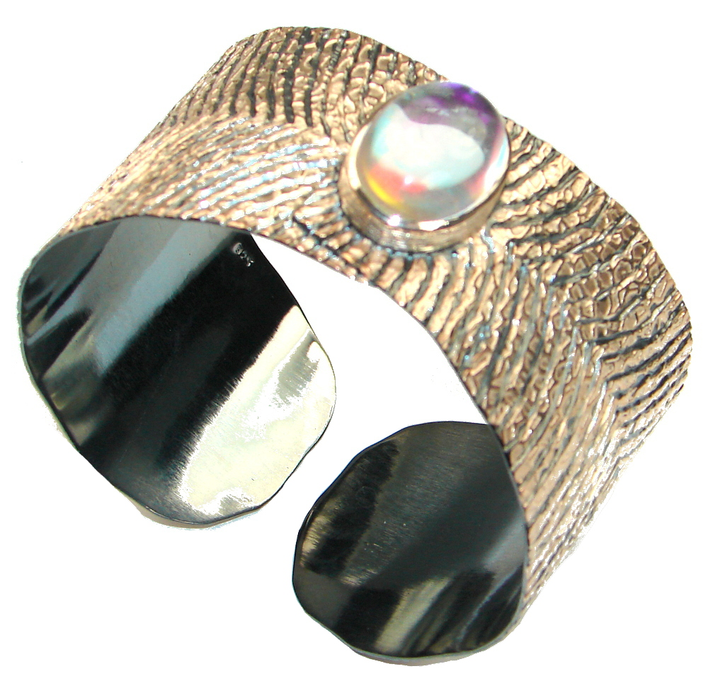 Vintage Style Colorchanging Stone and Rhodium Plated Sterling Silver Bracelet Cuff