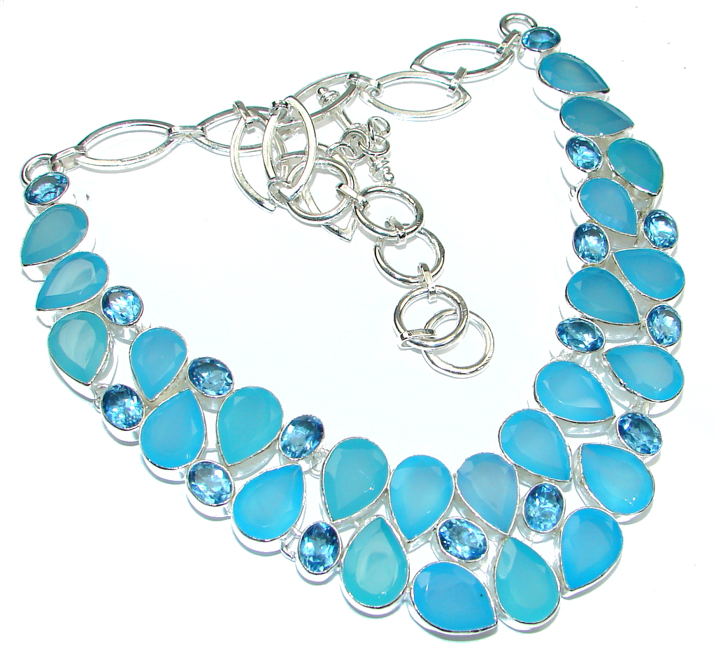 Aura Of Beauty! Chalcedony Agate Sterling Silver necklace