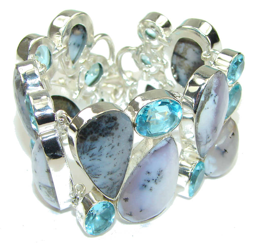 Just Glow! White-Black Dendritic Agate & Swiss Blue Topaz Sterling Silver Bracelet