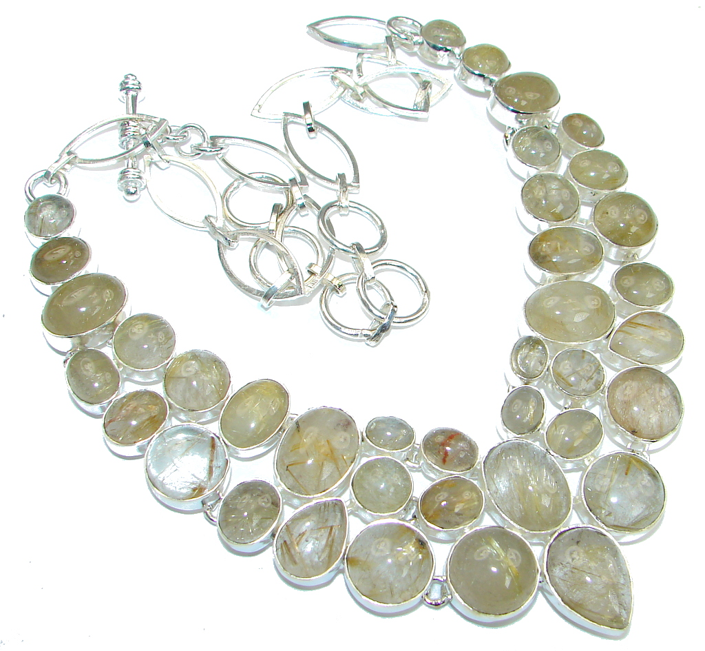 Perfect Design! Golden Rutilated Quartz Sterling Silver necklace