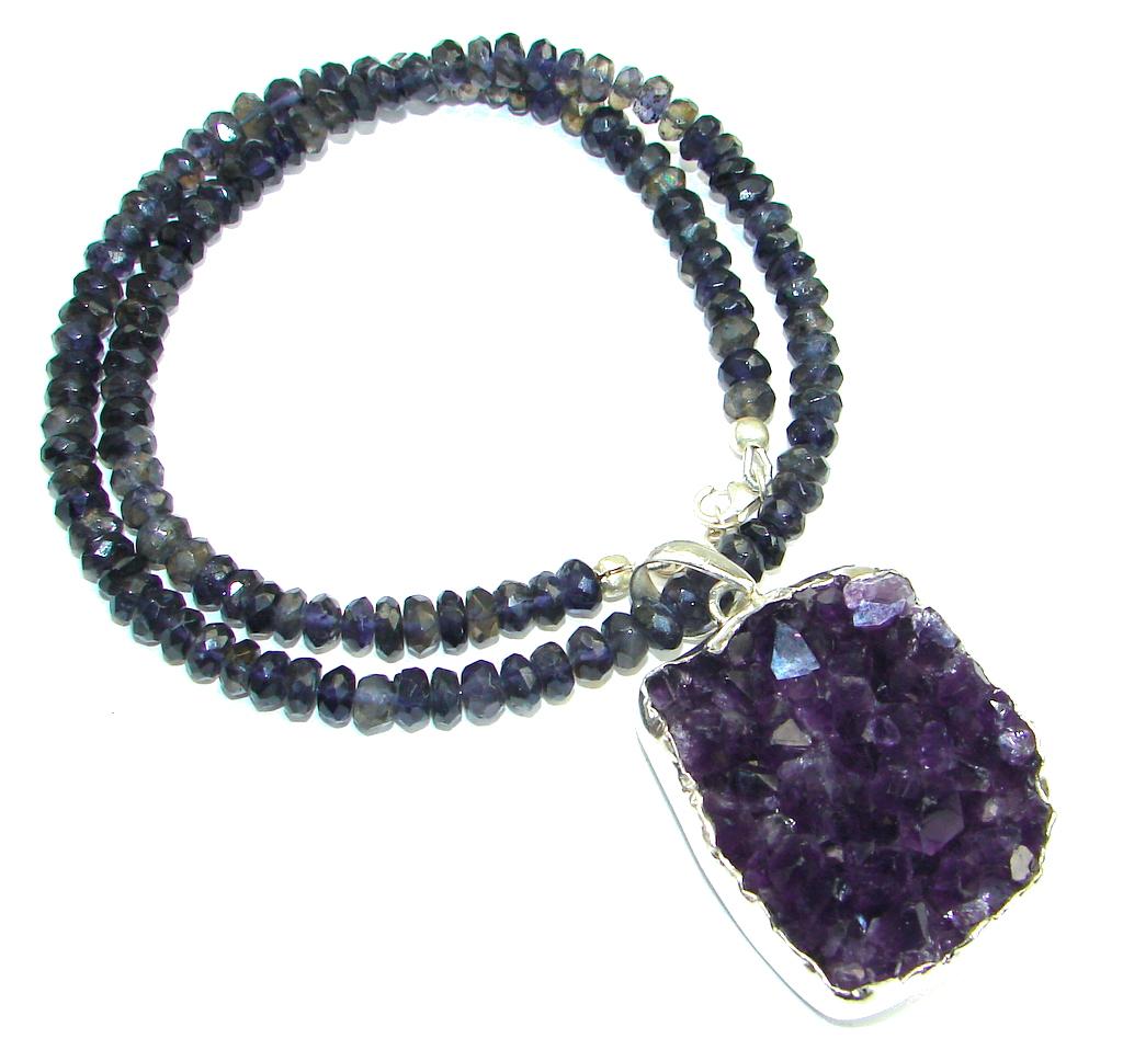 Fashion Design! Purple Amethyst Cluster Sterling Silver necklace