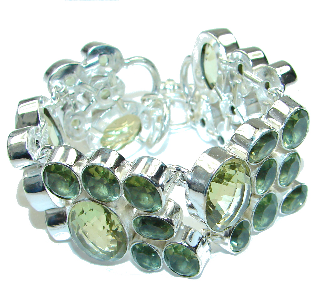 Secret Green Lemon Citrine Quartz Sterling Silver Bracelet