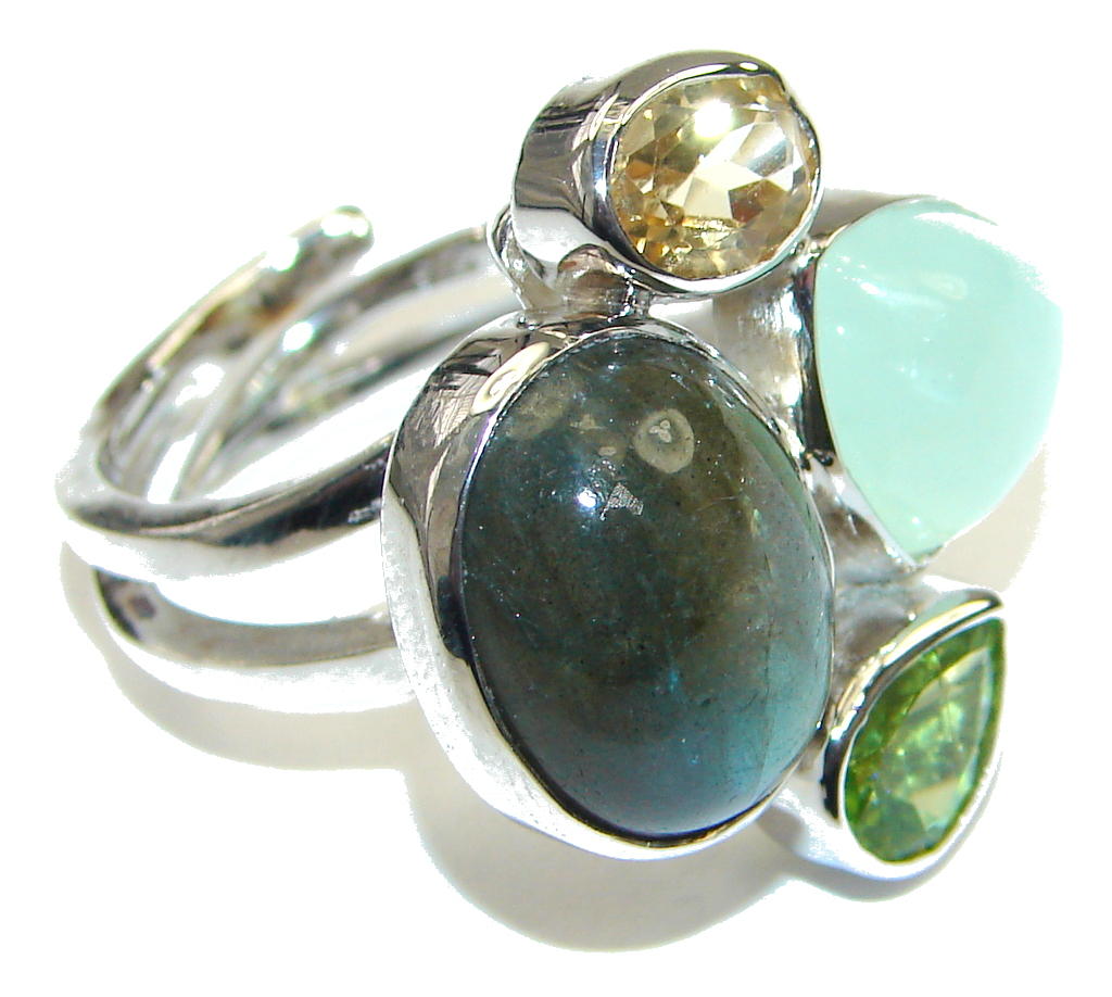 Pale Beauty! AAA Labradorite Sterling Silver Ring s. 7- Adjustable