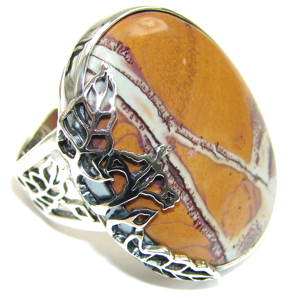 Amazing! AAA Morrisonite Jasper Sterling Silver Ring s. 9 - Adjustable
