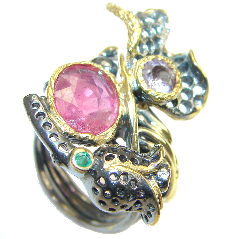 Gorgeous Design! Genuine Ruby Rhodium Plated, Gold Plated Sterling Silver Ring s. 10