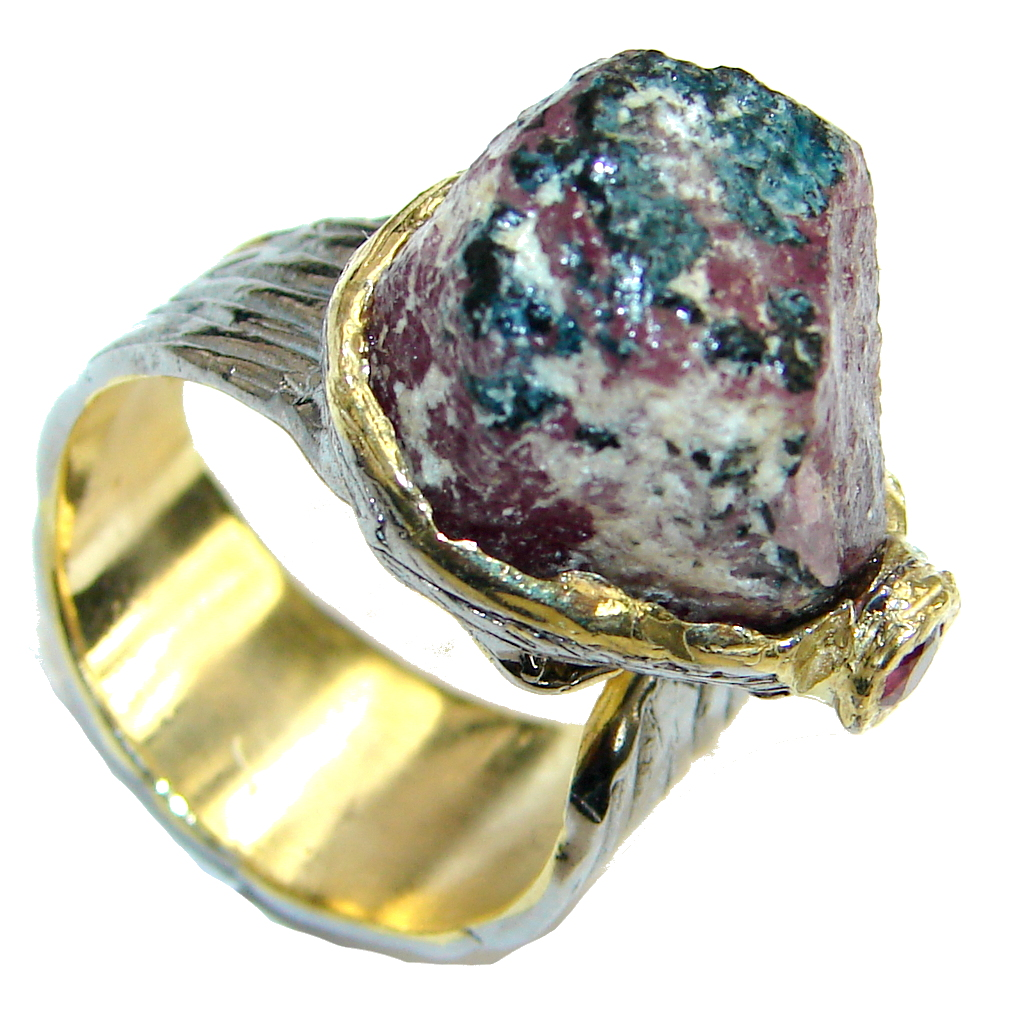 Stylish! Rough Ruby , Gold Plated, Rhodium Plated Sterling Silver Ring s. 7 - Adjustable