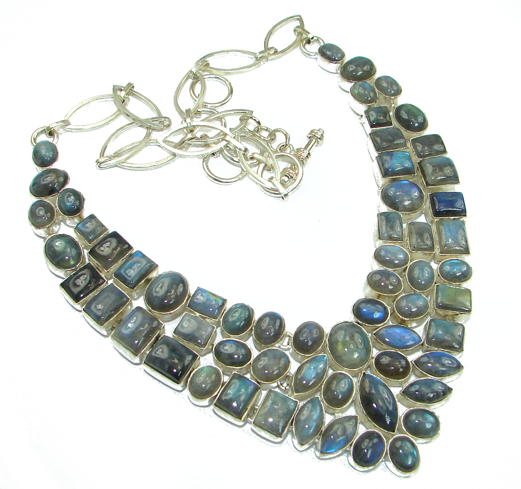 Cloud Of Desire! AAA Labradorite Sterling Silver necklace