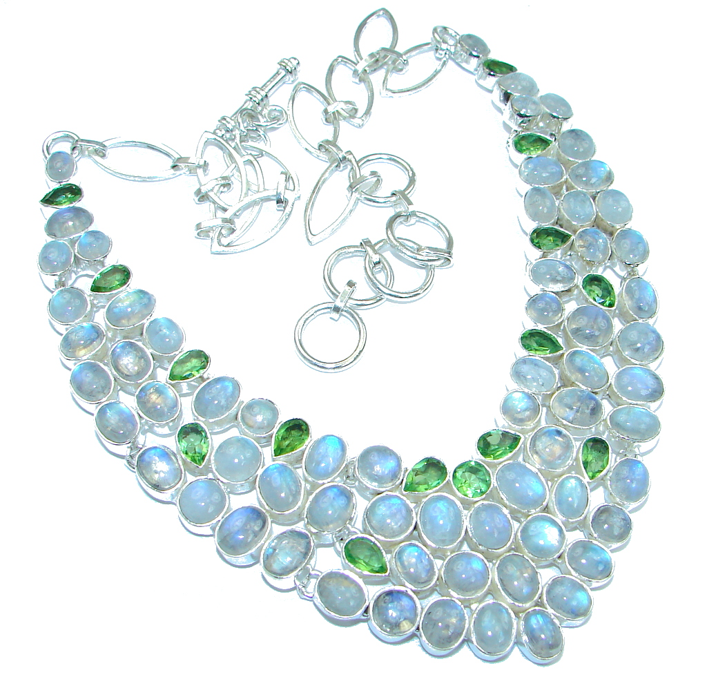 Love Declared White Fire Moonstone & Peridot Sterling Silver necklace