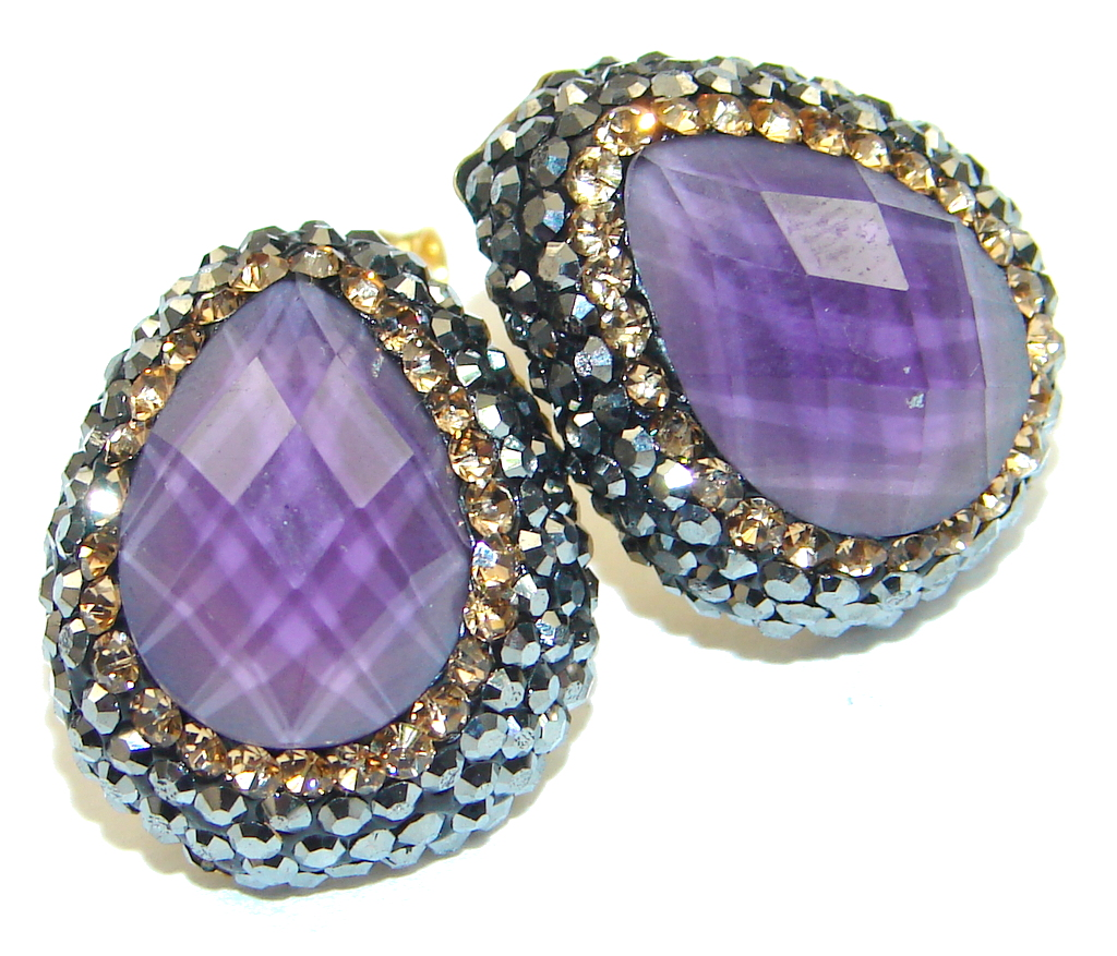 Amazing! Purple Amethyst & Citrine Sterling Silver earrings
