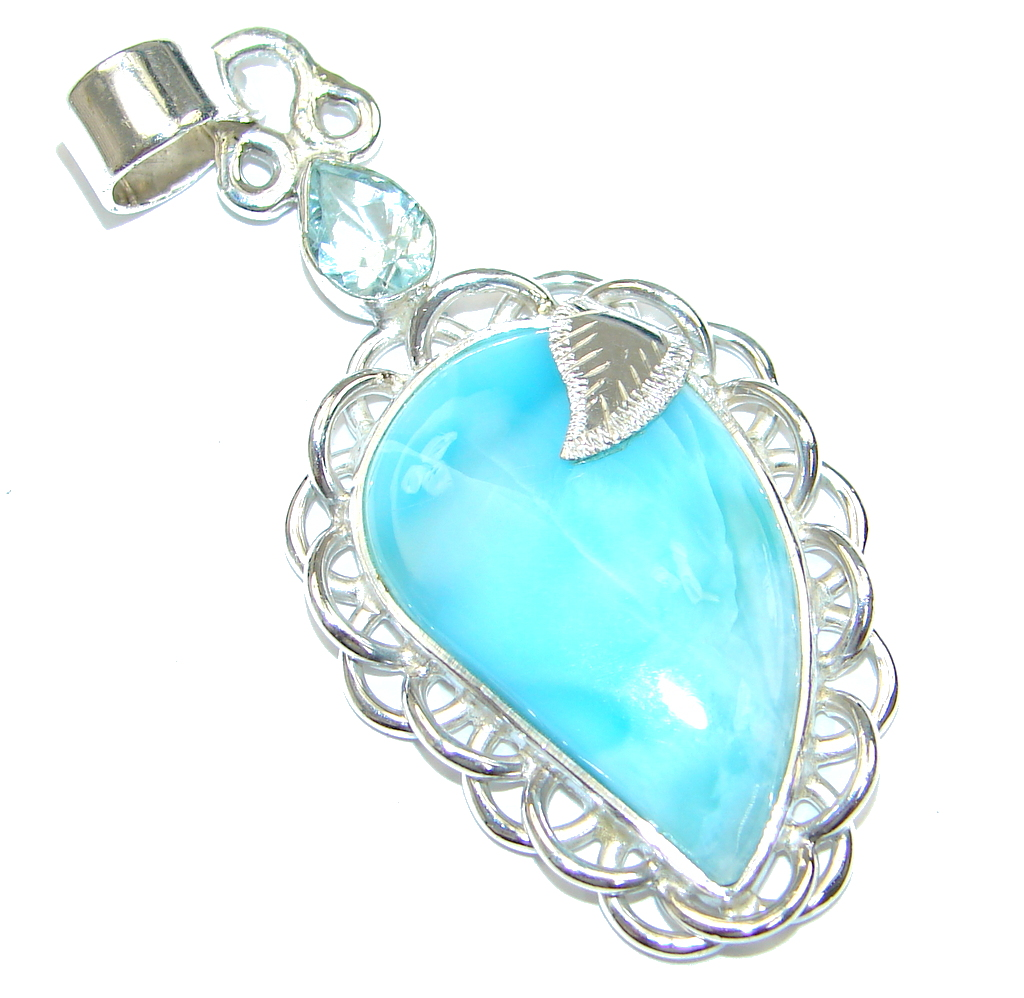 Image of Perfect Gift! AAA Blue Larimar & Swiss Blue Topaz Sterling Silver Pendant