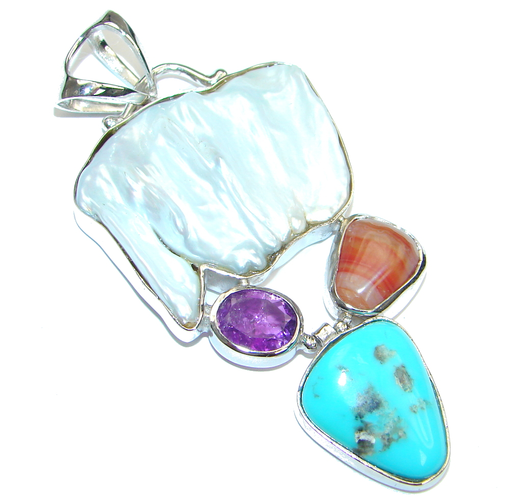 Aura Of Beauty!! Mother Of Pearl Sterling Silver Pendant