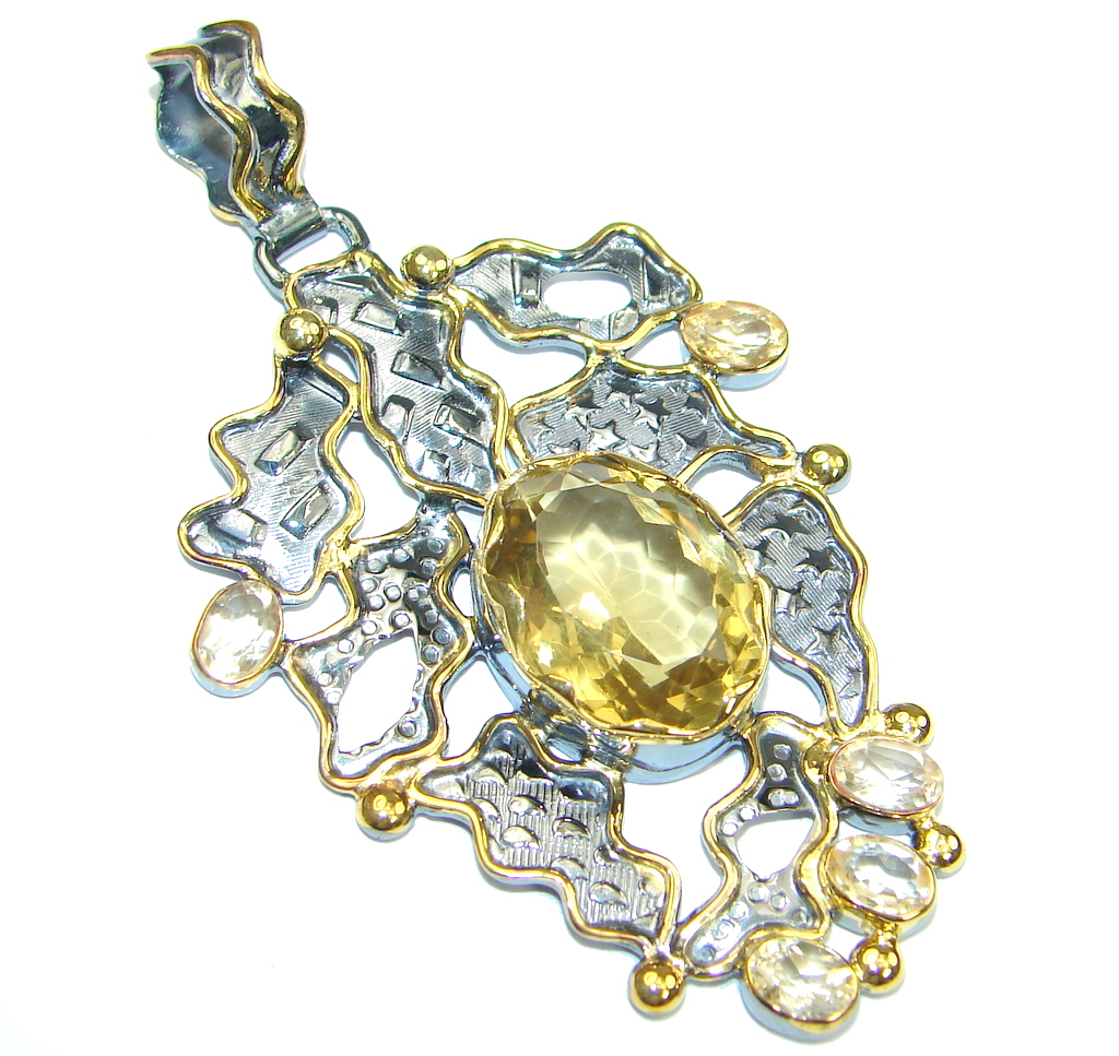 Perfect Genuine Citrine, Gold Plated, Rhodium Plated Sterling Silver Pendant