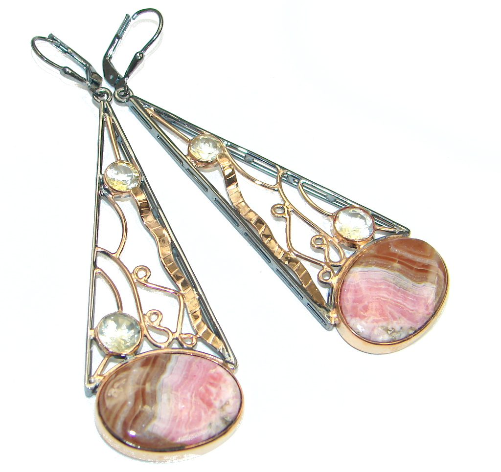 Artisian Design! AAA Pink Rhodochrosite & Citrine, Rose Gold Plated, Rhodium Plated Sterling Silver earrings / Long