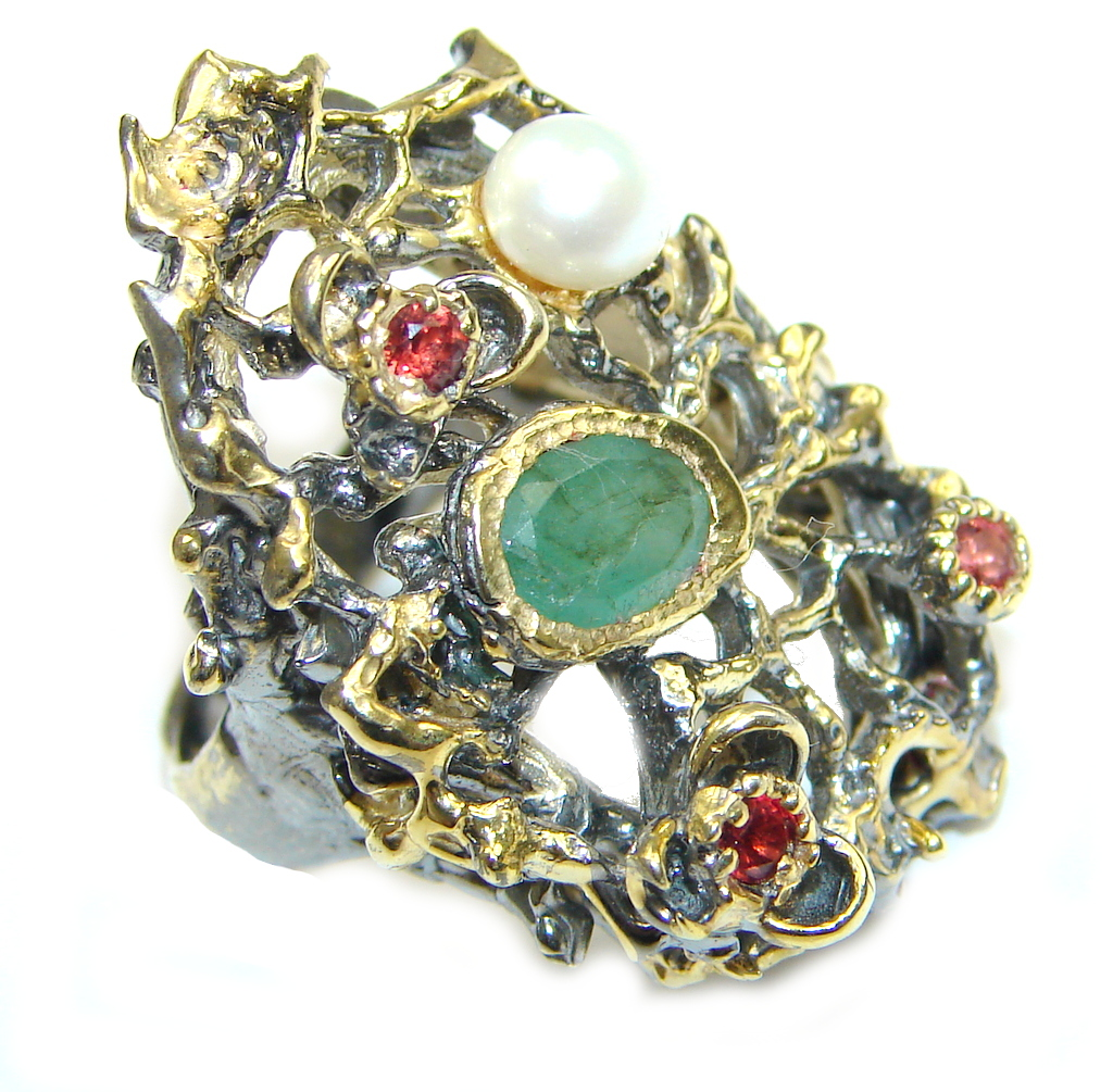 Garden Style! Green Emerald, Gold Plated, Rhodium Plated Sterling Silver ring s. 6