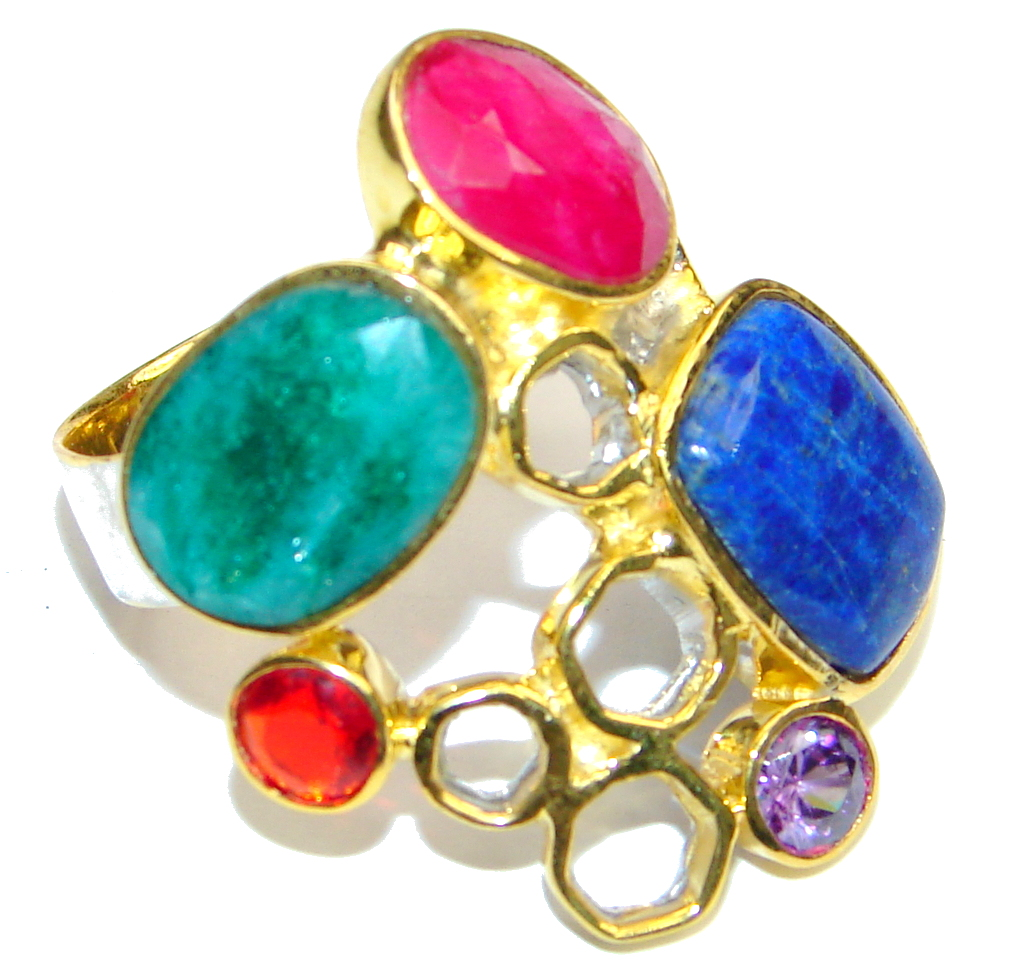 Pale Beauty! Blue Lapis Lazuli & Ruby & Emerald, Gold Plated Sterling Silver Ring s. 9 1/2