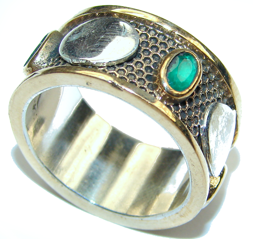 Perfect AAA Green Emerald, Gold Plated Sterling Silver ring / Band s. 8 1/4