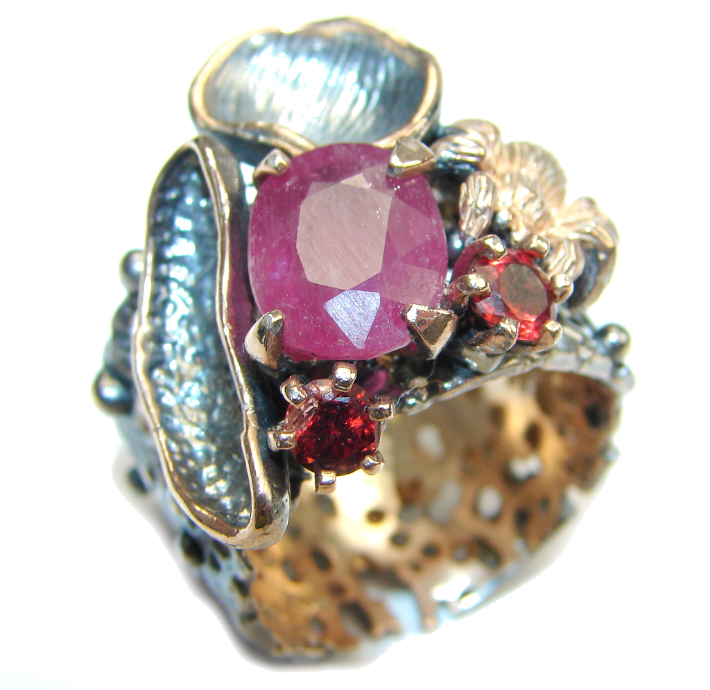 Natural AAA Pink Ruby & Garnet, Gold Plated, Rhodium Plated Sterling Silver Ring s. 9