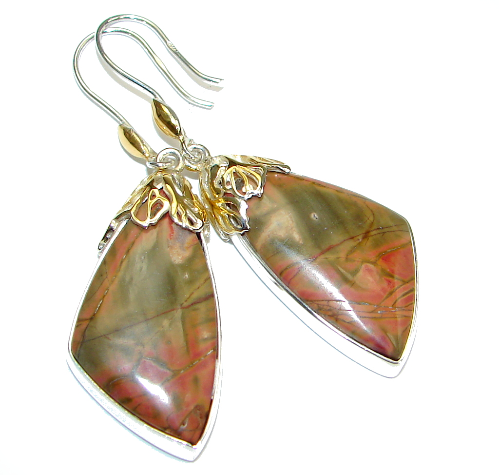 Beautiful! AAA Red Creek Jasper Two Tones Sterling Silver Earrings