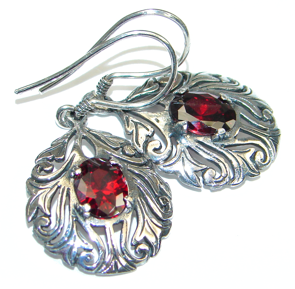Perfect! Red Garnet Sterling Silver earrings
