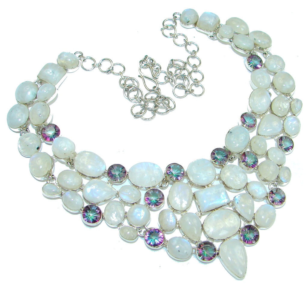 Magic Style! AAA White Fire Moonstone & Magic Topaz Sterling Silver necklace
