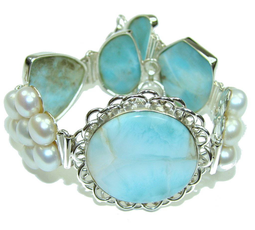 Beautiful Design! AAA Blue Larimar & Fresh Water Pearl Sterling Silver Bracelet